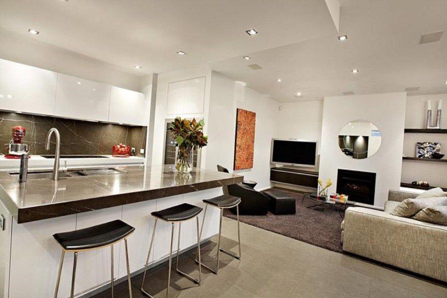 Дизайн кухни-гостиной + фото совмещенных интерьеров