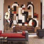 Геометрическое панно в гостиной