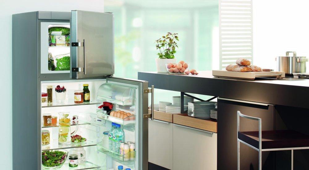 Двухкамерный стальной холодильник
