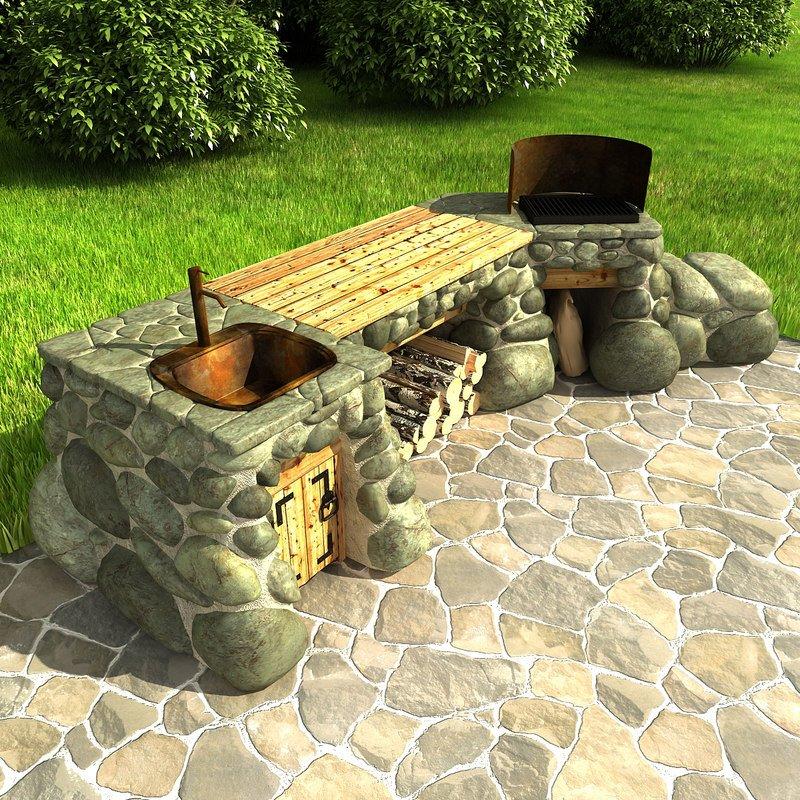 Каменный мангал с мойкой