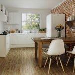 Кухня с наполным покрытием из линолеума