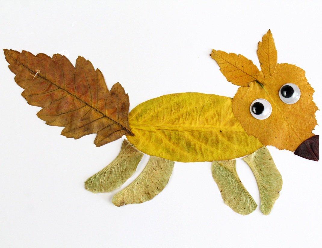 Лисичка из листьев