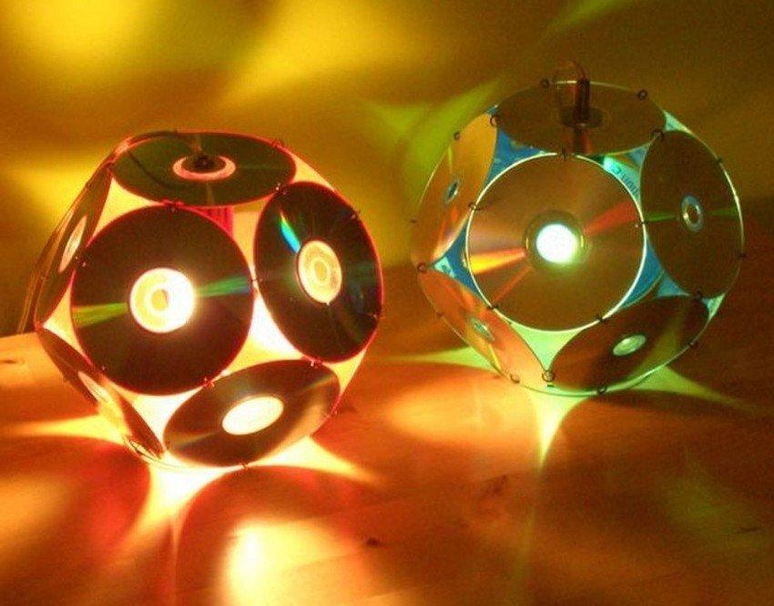 Светильники из лазерных дисков