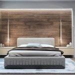 Панели из дерева у кровати