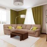 Интерьер гостиной в бежево-зеленых тонах фото