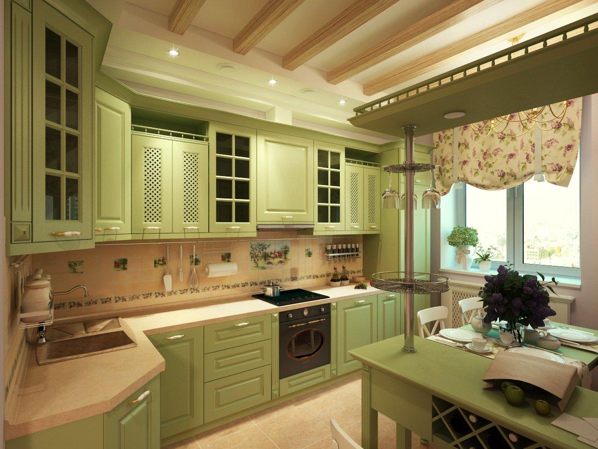 Кухня в бежево-зеленых тонах