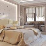 Интерьер бежевой спальни фото