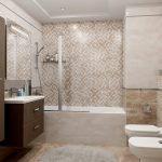 Ванная с бежевой мозаикой