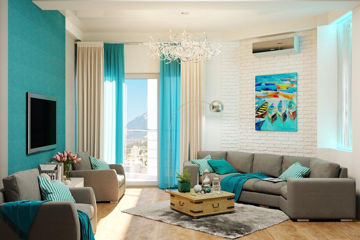Бежевая гостиная с бирюзовыми шторами