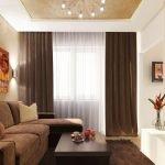 Интерьер гостиной в бежево-коричневых тонах фото