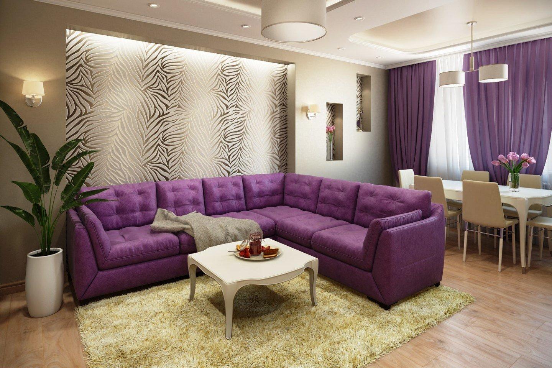 Дизайн интерьера в бежево-фиолетовых тонах фото