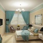 Интерьер спальни в бежево-бирюзовых тонах