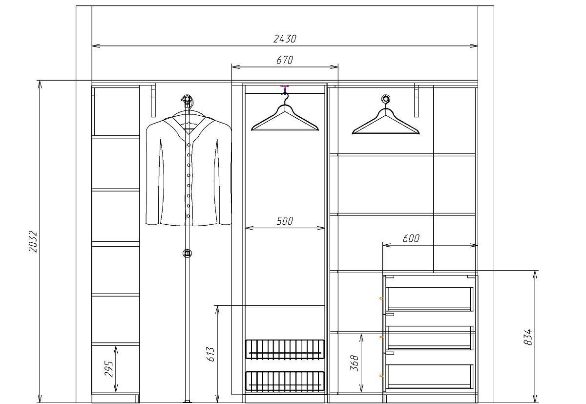 Планировка гардеробной комнаты