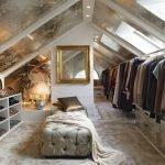 Обустройство гардеробной на мансардном этаже