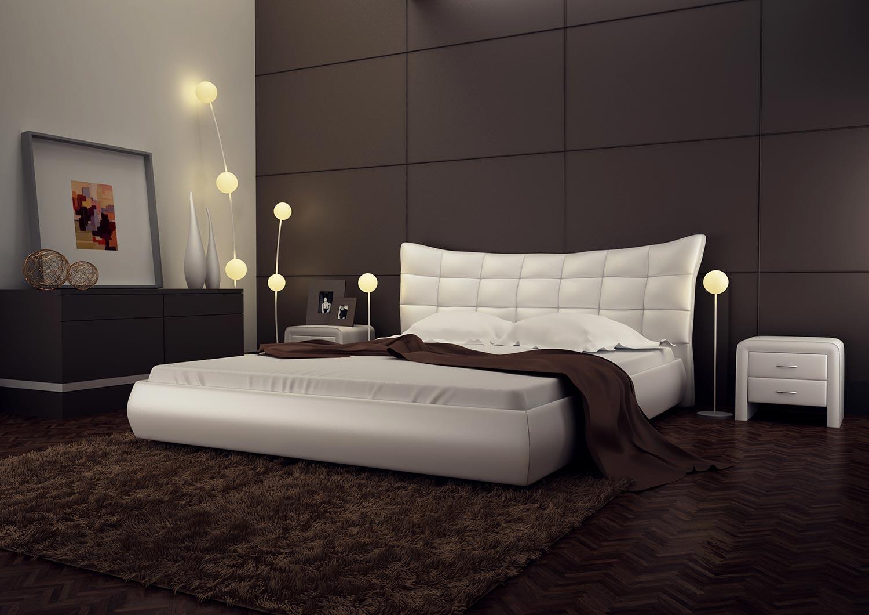 Стильная кровать с изголовьем в современном интерьере