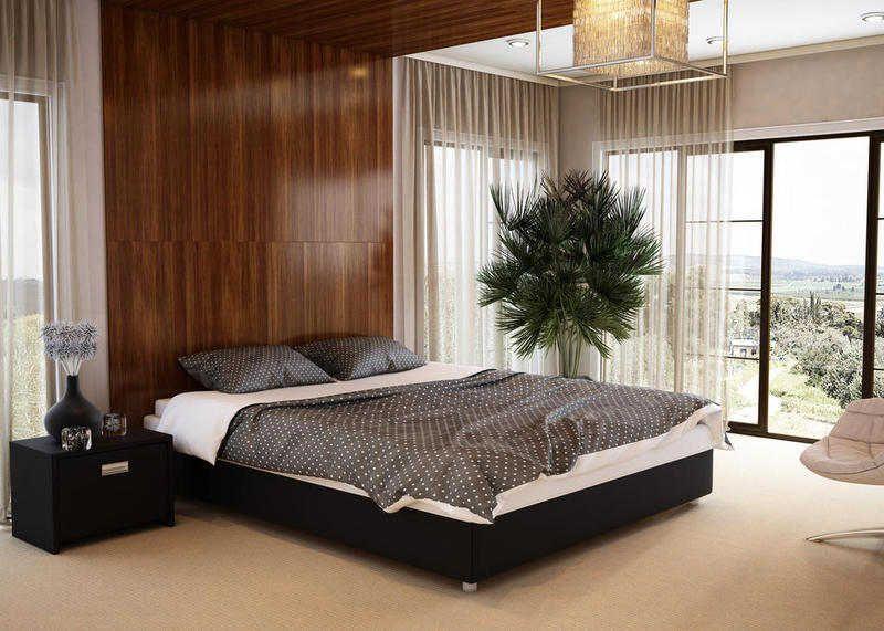 Кровать без изголовья в спальне