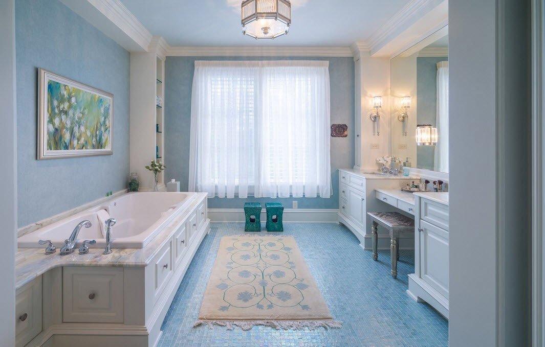 Дизайн голубой ванной в стиле минимализм