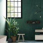 Зеленая ванная в стиле минимализм