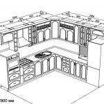 План угловой кухни