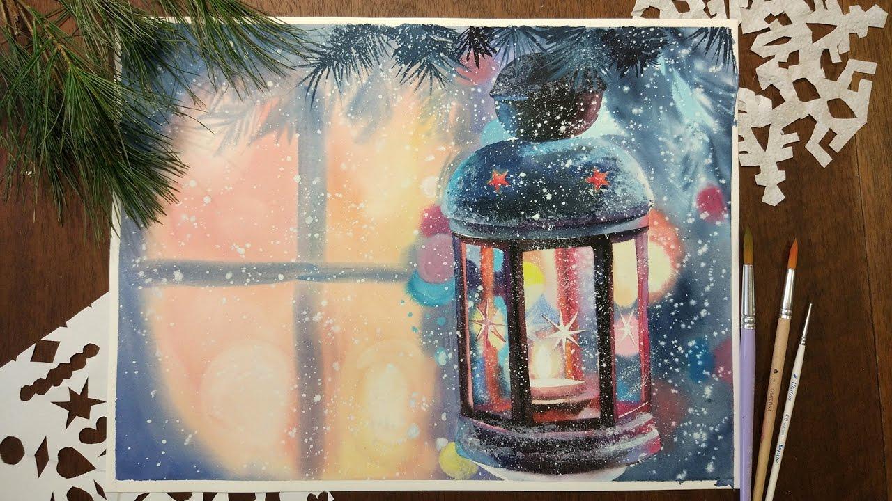 Картинки, новогодняя открытка с краской