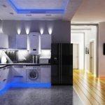 Синяя подсветка для кухни