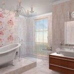 Розовая вагонка в ванной