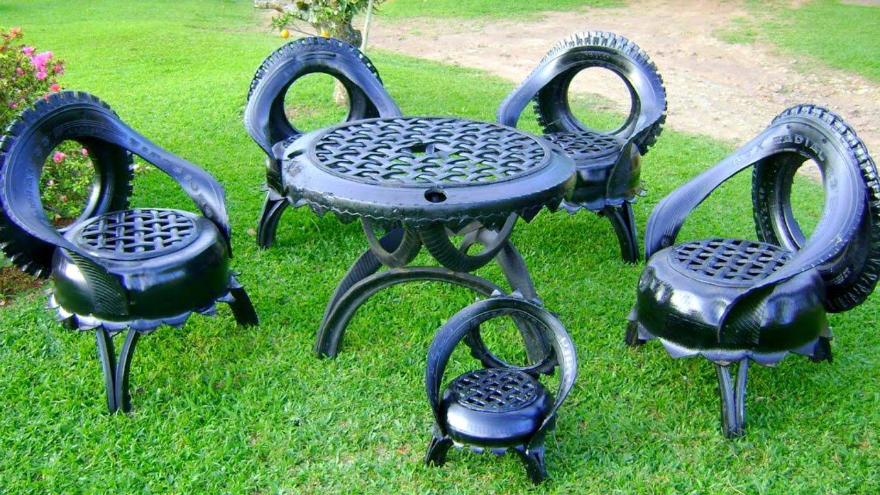 Дачная мебель из шин