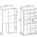 Чертеж шкафа с размерами 3