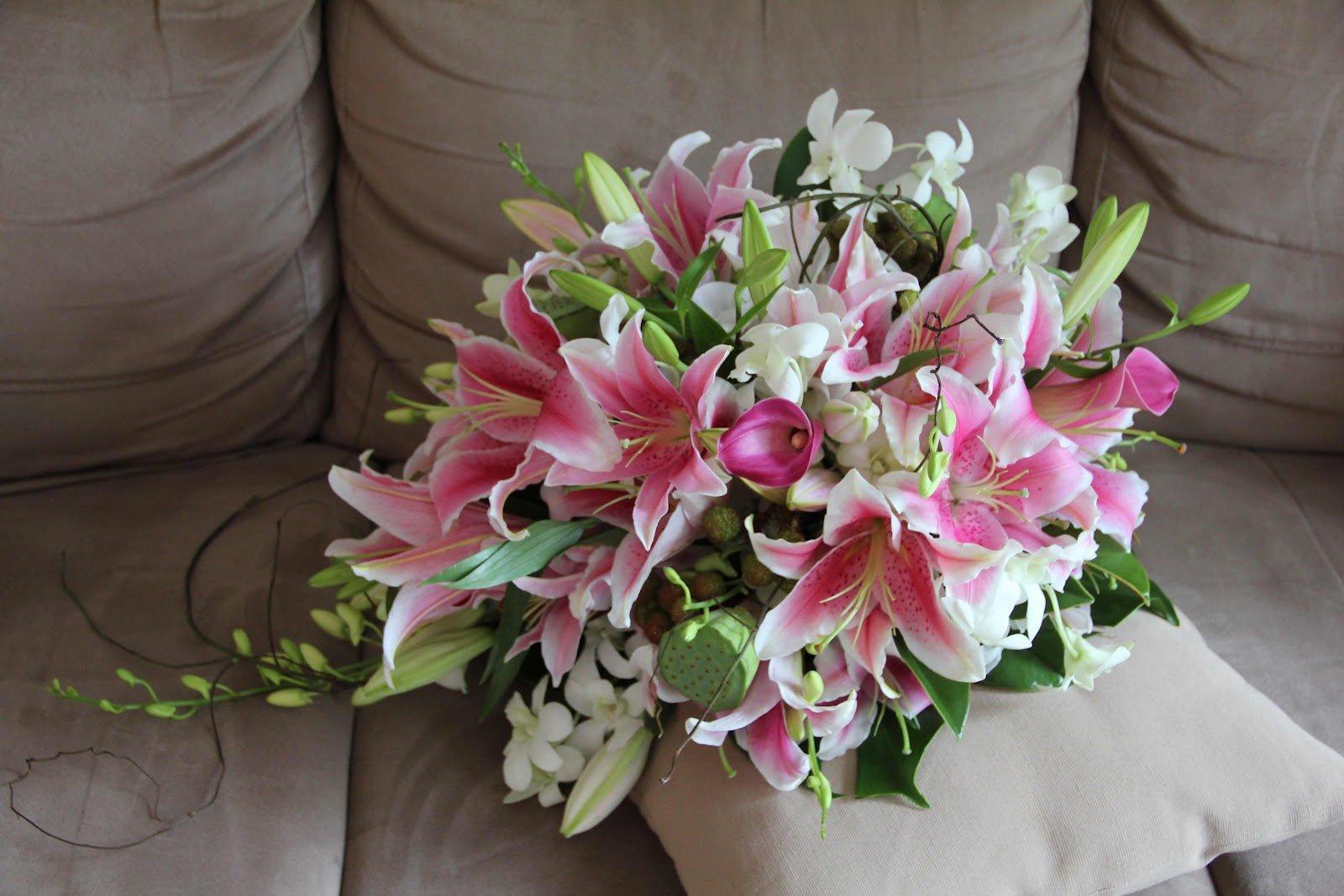 красивый букет цветов фото лилии этом пошаговом