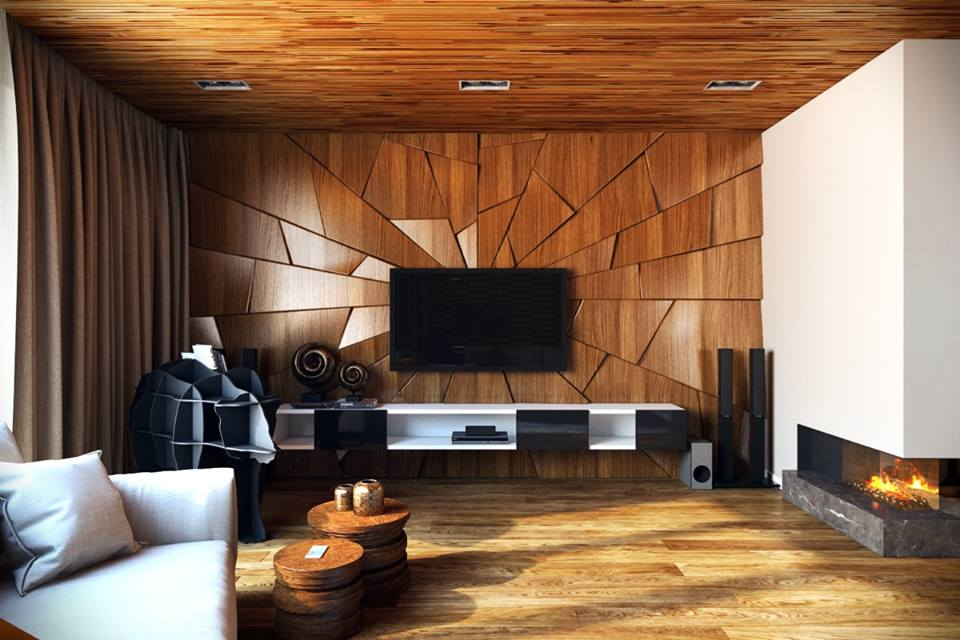 Телевизор на стене из дерева