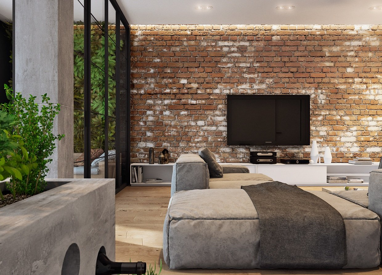 Телевизор на стене из кирпича