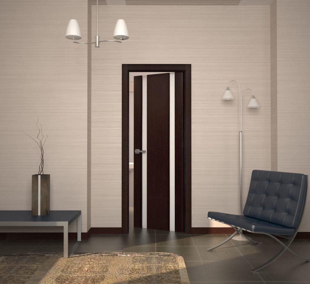 Дверь из шпона в интерьере