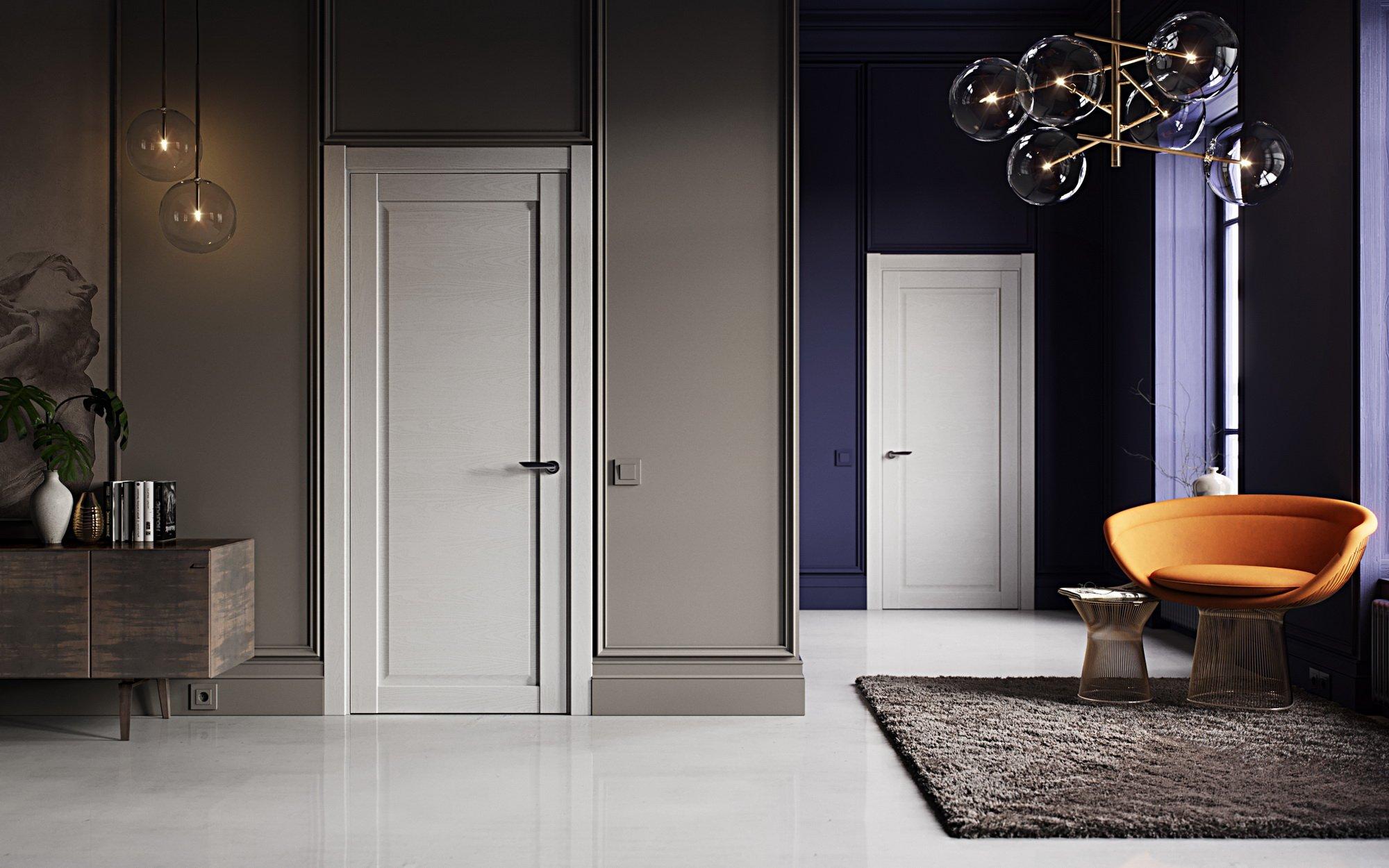 Сочетание светлых дверей и темных стен в интерьере