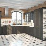 Черно-белая кухня с коричневыми акцентами