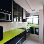 Черно-белая кухня с зелеными акцентами