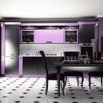 Черно-белая кухня с фиолетовыми акцентами