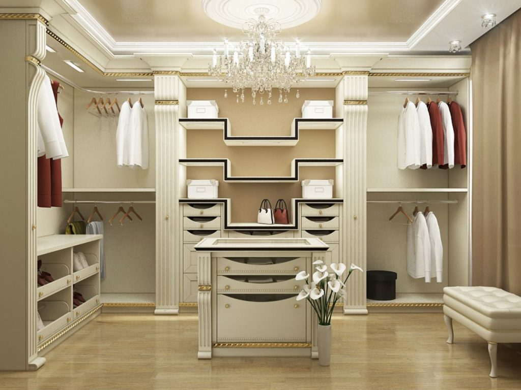 Белая классическая гардеробная