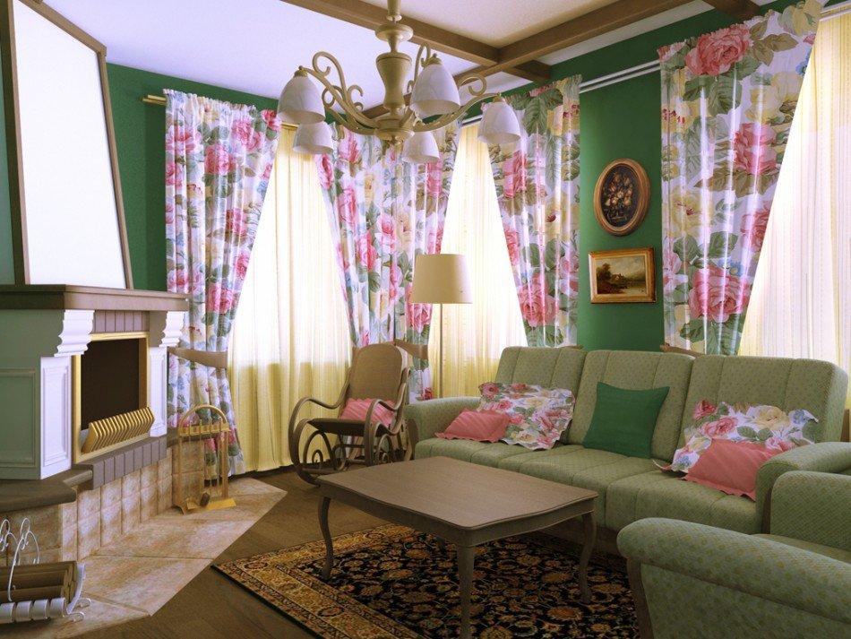 Гостиная в стиле прованс в зеленом цвете