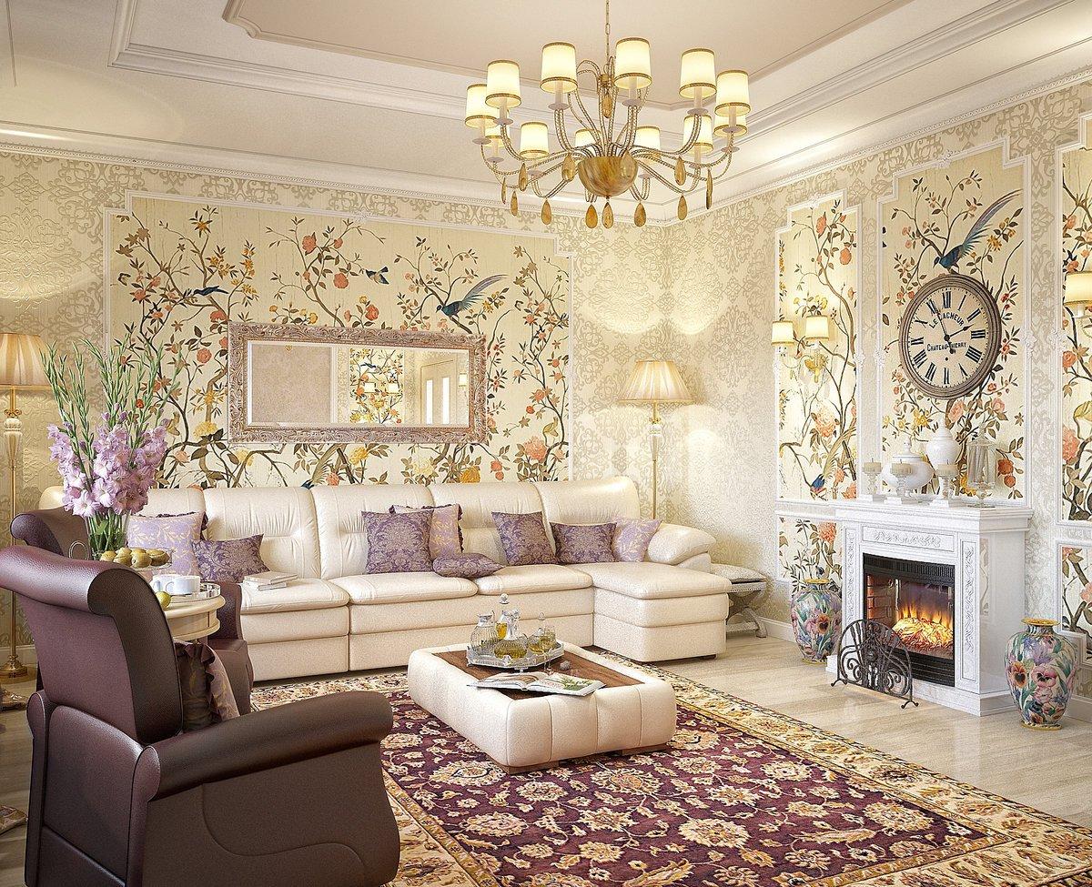Обои на стенах гостиной в стиле прованс