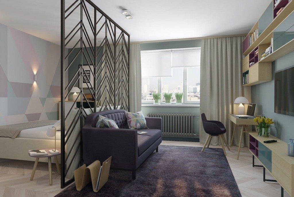 Зонирование ширмой однокомнатной квартиры
