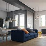 Синий диван в квартире