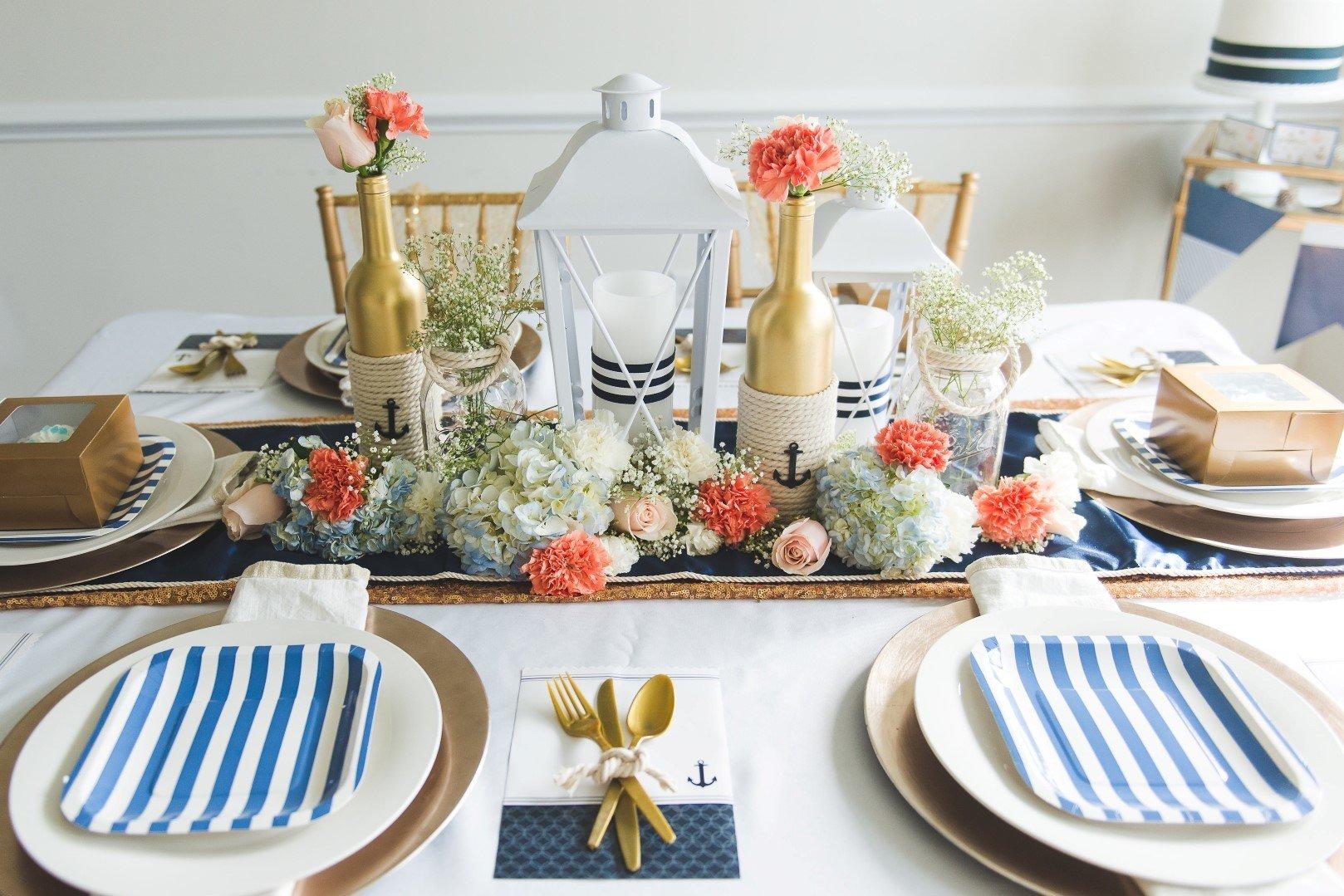 Декор стола в морском стиле