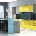 Желтый фасад кухни