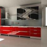 Красная кухня со стеклом