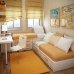 Оранжевый ковер у дивана