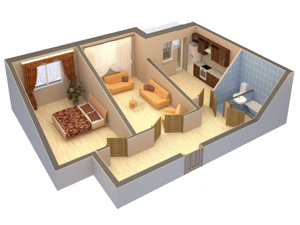 Планировка дома из двух комнат