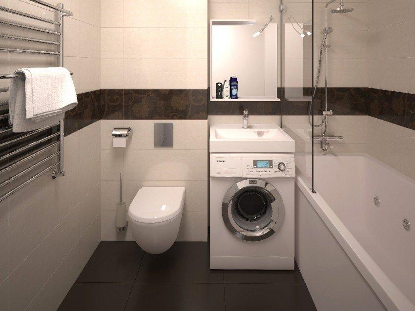 Экономия пространства - одно из достоинств раковины над стиральной машиной