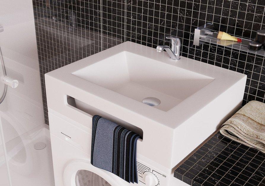 Прямоугольная раковина над стиральной машиной