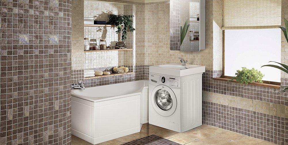 Стильный интерьер с раковиной над стиральной машиной