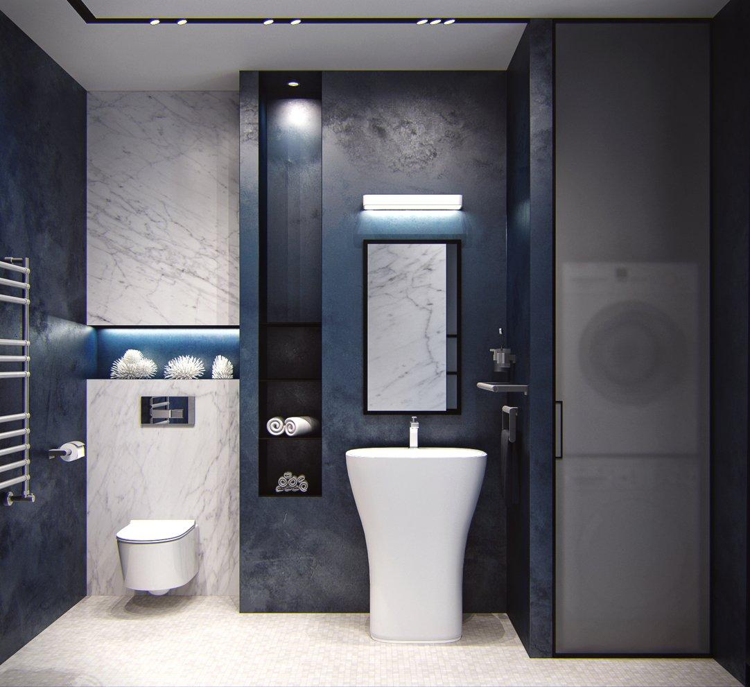Интерьер туалета в черном цвете